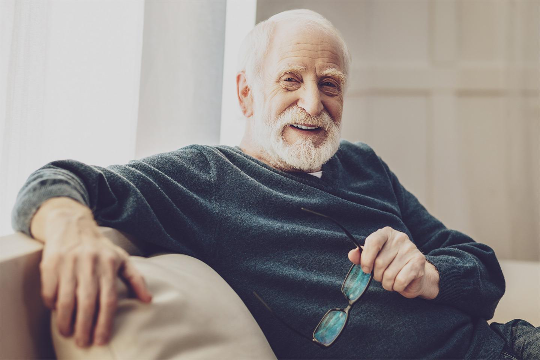 Senior Man at home emergency alert
